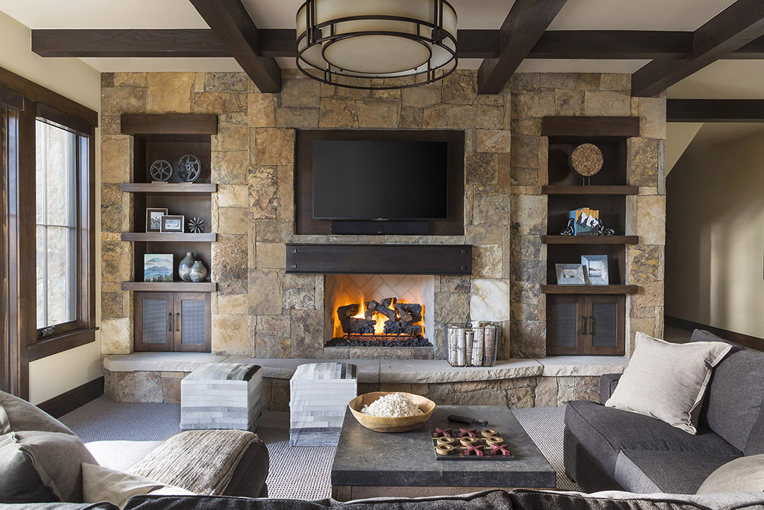 Jenn, familyroom. wood beans and stone, fireplace