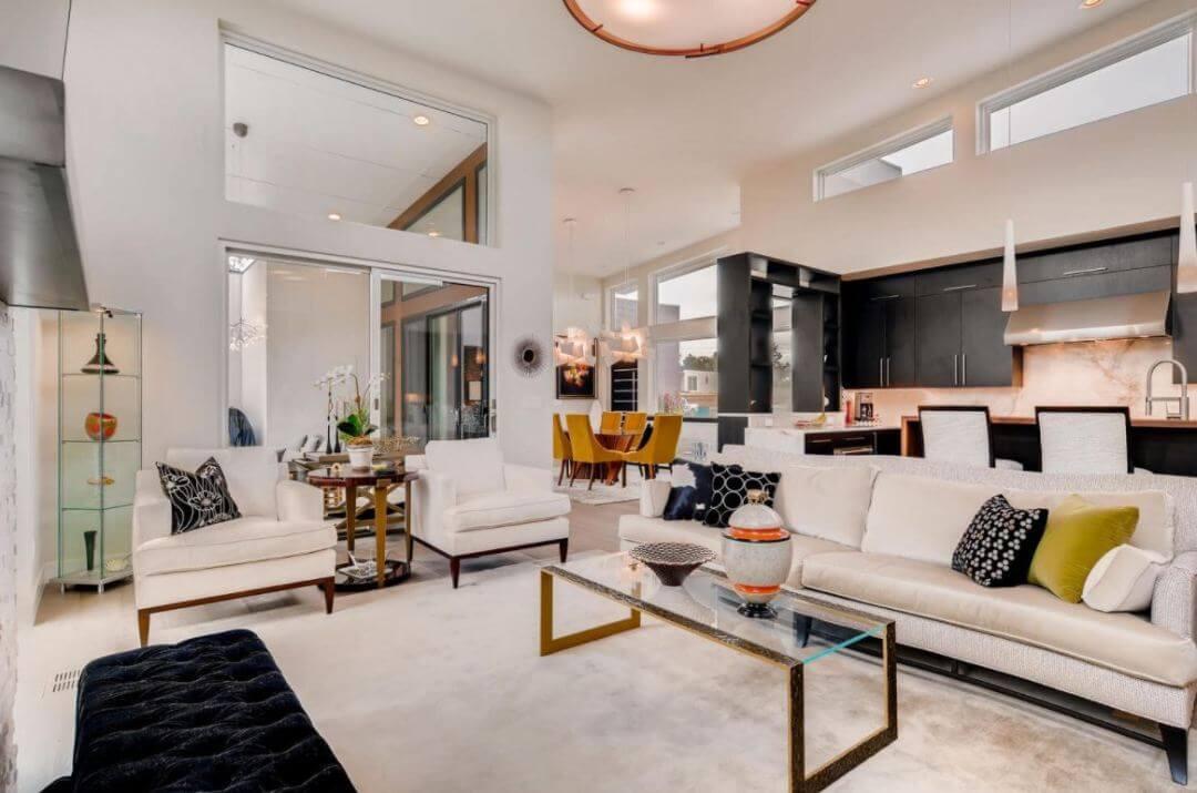 Mid-century modern, pam, living room