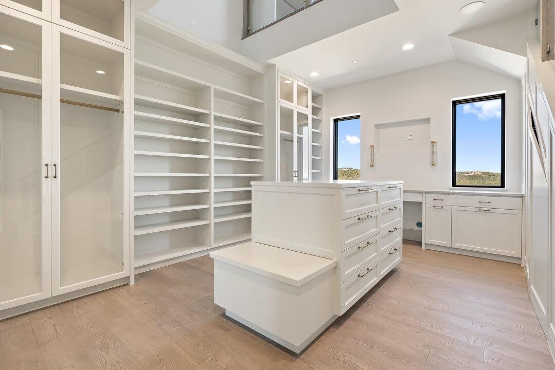 Lenore, lake austin, design a spec home,contemporary home, closet