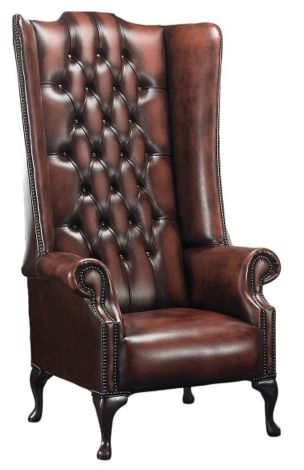 Chesterfield Soho 1780's High Back Wing Chair Antique Rust Leather
