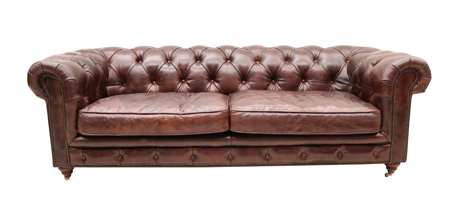 Vintage Distressed Tobacco Leather Chesterfield 3 Seater Sofa Vintage Furniture By Designer Sofas For You
