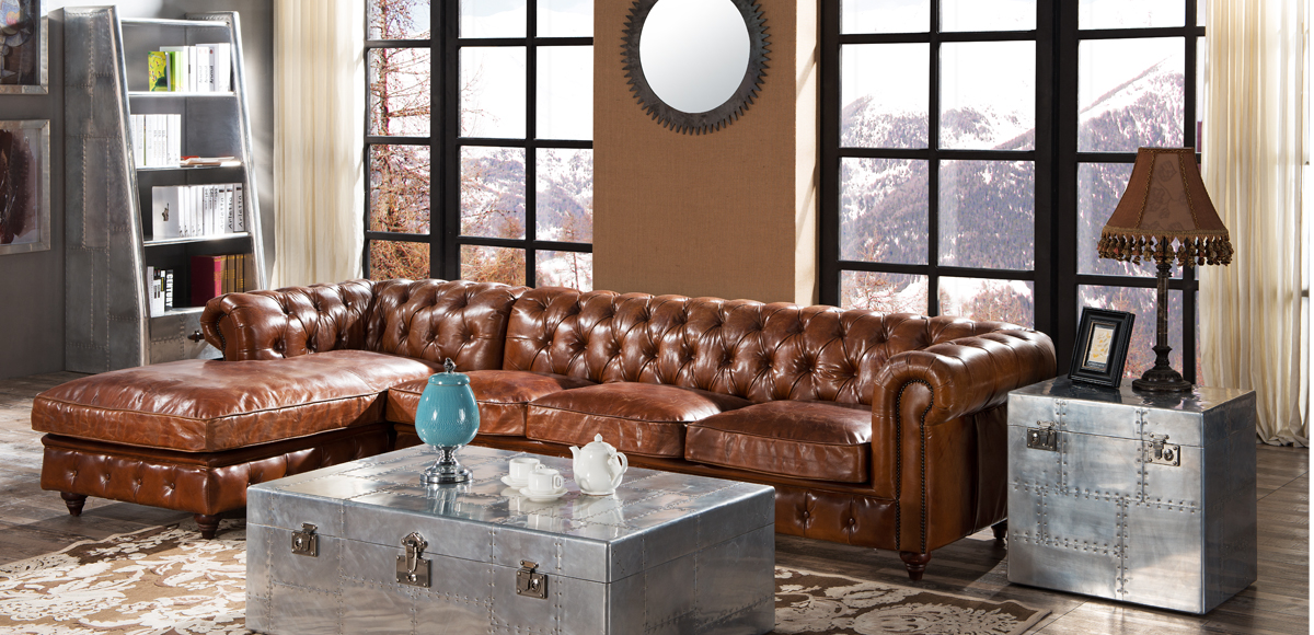 chesterfield vintage distressed leather buttoned corner sofa