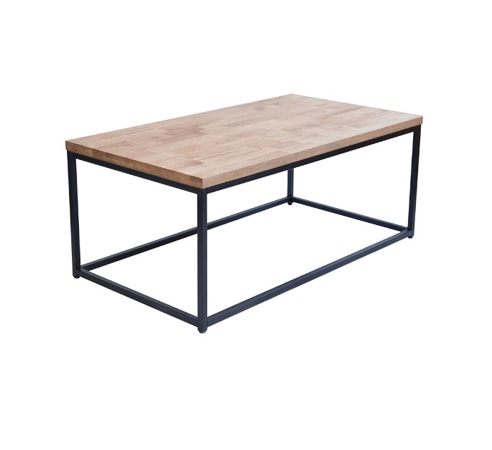 mary solid oiled oak top coffee table with black metal frame
