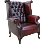 Antique Red Oxblood Chesterfield High Back Wing Chair Sale