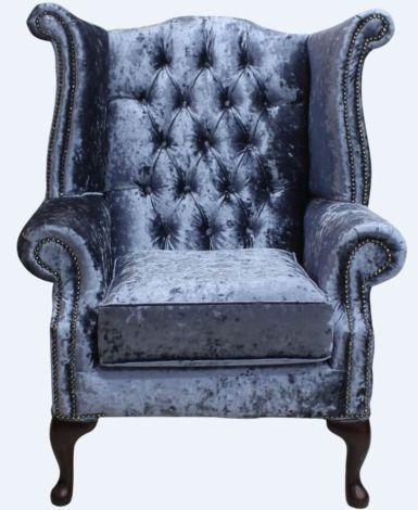 Chesterfield Queen Anne Wing Chair Senso Dusk Velvet