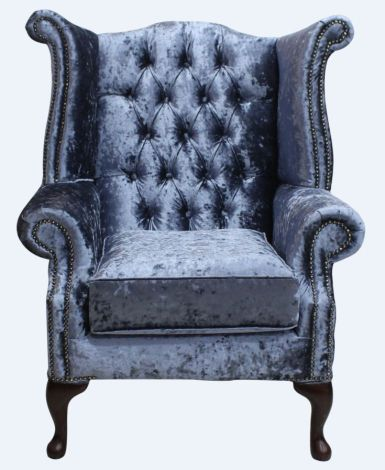 Chesterfield Queen Anne Wing Chair Senso Dusk Velvet