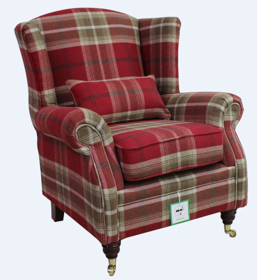 Balmoral Red Check High Back Wing Chair Armchairs