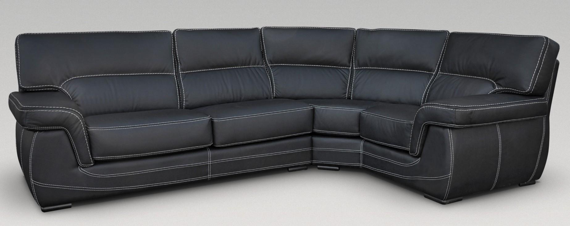 Babylon Corner Group Italian Leather Sofa Blackjpg
