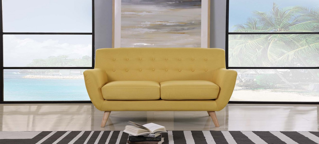 Canap Tendance 2 Places Jaune Moutarde Style Scandinave