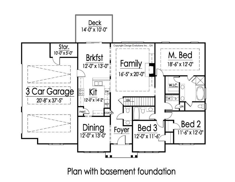 Reuben plan with basement option