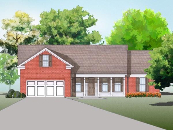 Kaplan house plan elevation rendering
