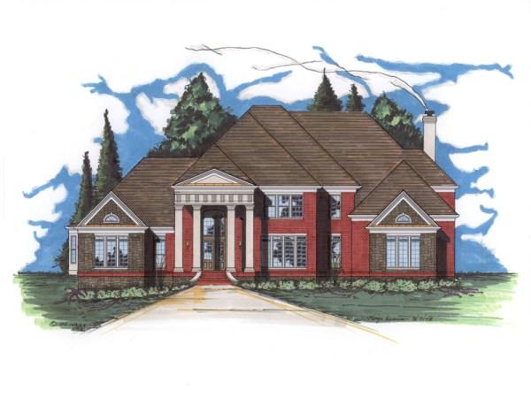 Williamsburg house plan rendering