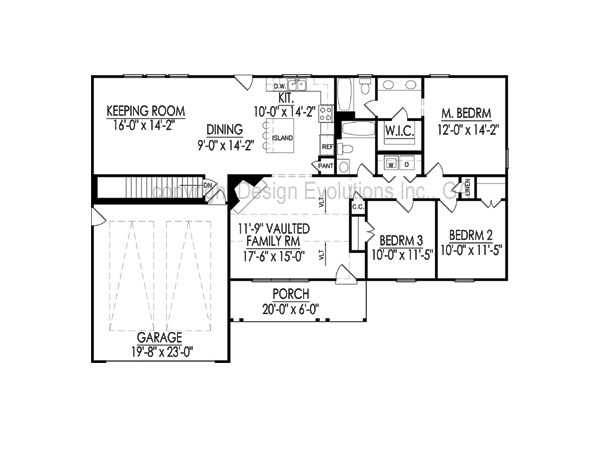 Ellise floor plan with basement foundation