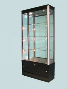Black Mirrored Back Glass Display Cabinet for Shops