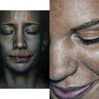 """Faces"" paintings by Erica Elan Ciganek"
