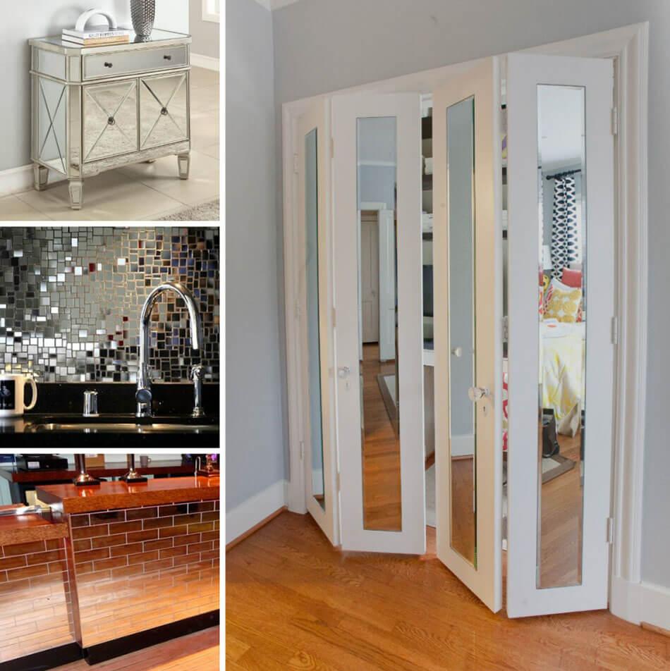 utiliser des miroirs ou un revetement reflechissant pour les surfaces de certains meubles contribuera a agrandir le volume de la piece