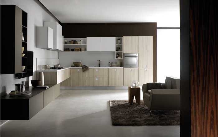 This Quarda kitchen flows into the living space.