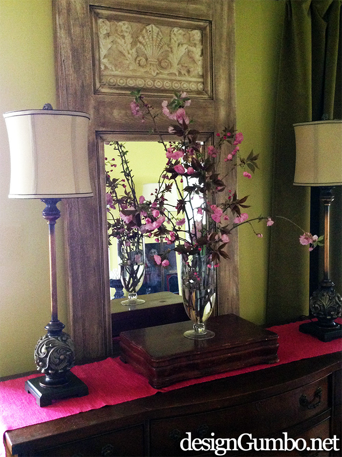 Cherry Blossoms Bouquet on Buffet