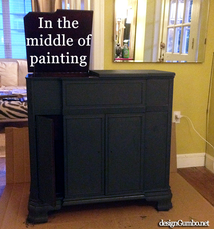 Vintage Stereo Cabinet - Chalk Paint applied