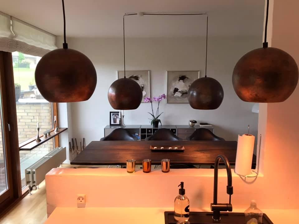 4 flotte lamper i bruneret kobber hønser nu hos kunde