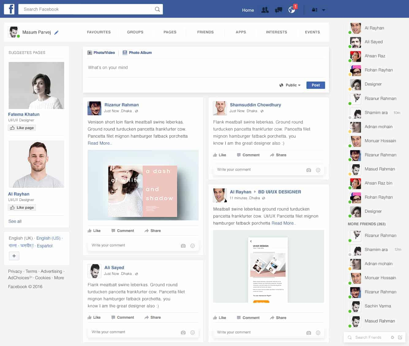 Facebook Home Page Redesign