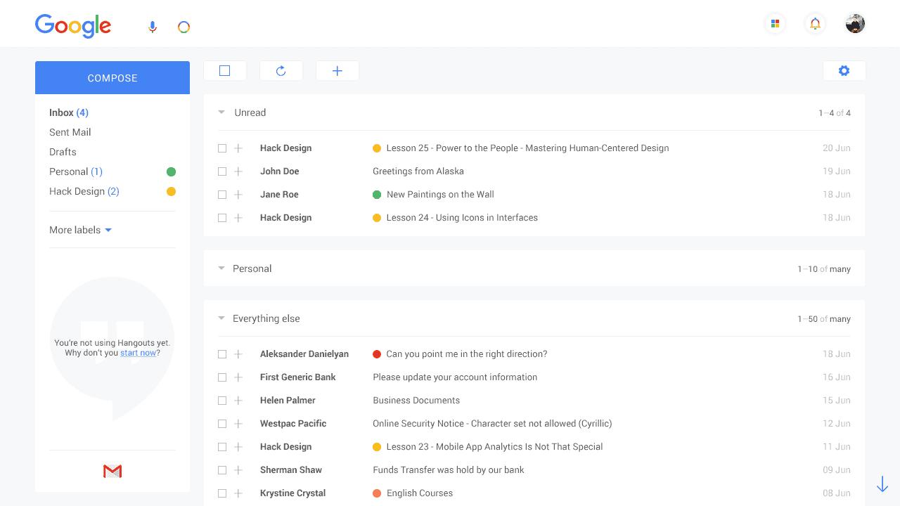 gmail redesign concept design ideas