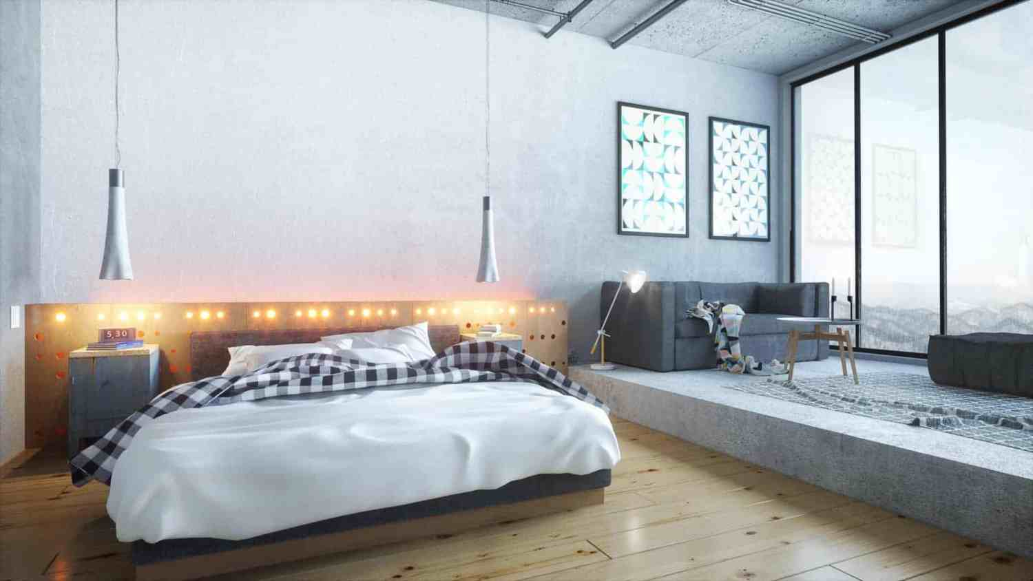 industrial bedroom - design ideas