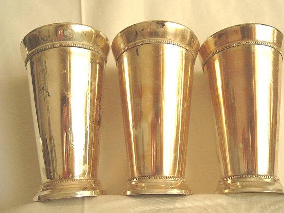 Brass varnished mint julep cups