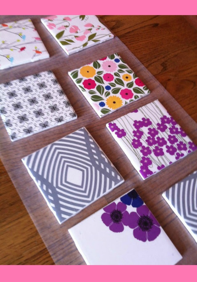 Coasters made from tile and scrapbooking paper