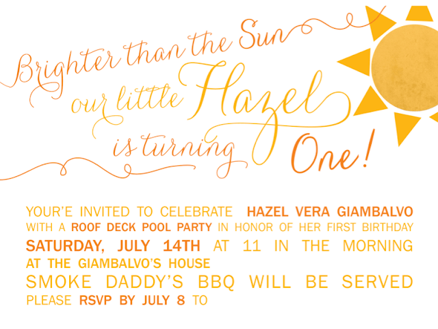 Sunshine Party Invitation