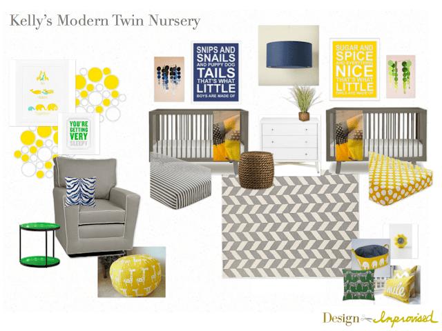 Grey and yellow twin nursery