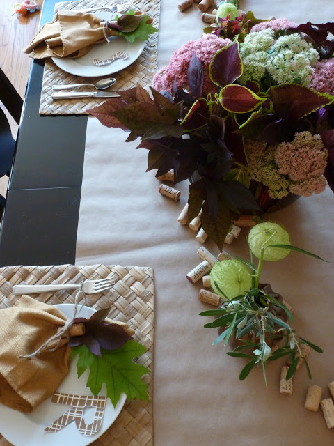 Early Fall Wine Dinner Table Setting
