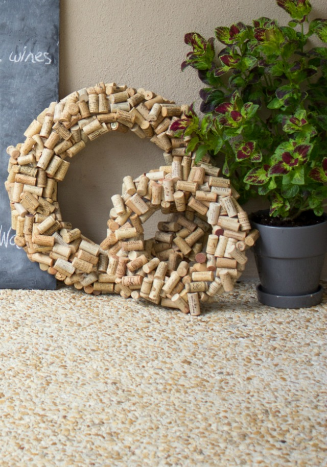 Small and large wine cork wreaths