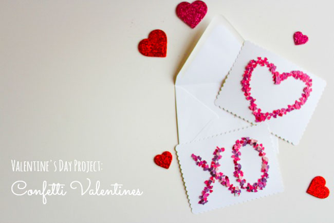 DIY XO Confetti Valentine Card Ideas