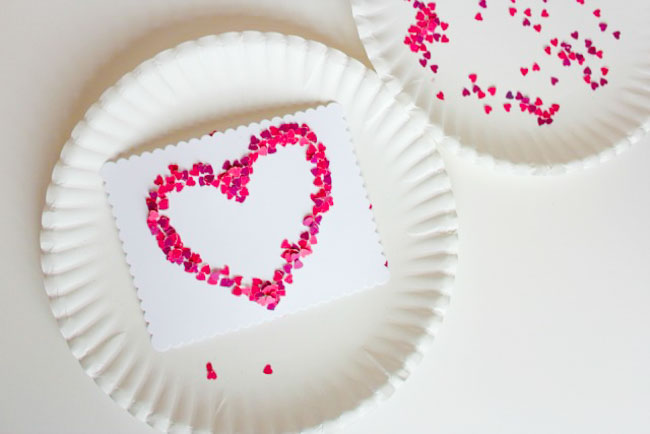 DIY Confetti Heart Valentine Card