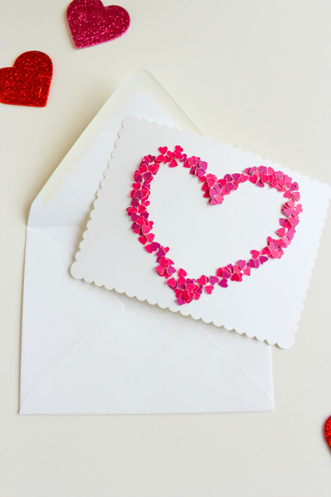 diy confetti heart valentine card idea  design improvised