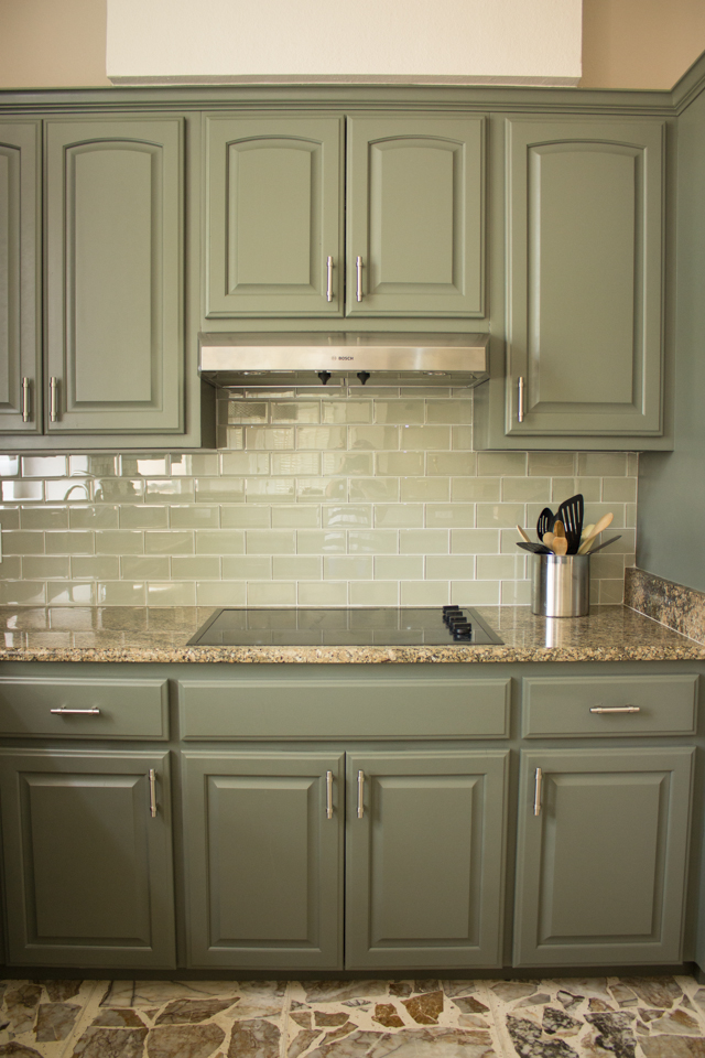 Kitchen cabinets with Sherwin-Williams Thunderous paint
