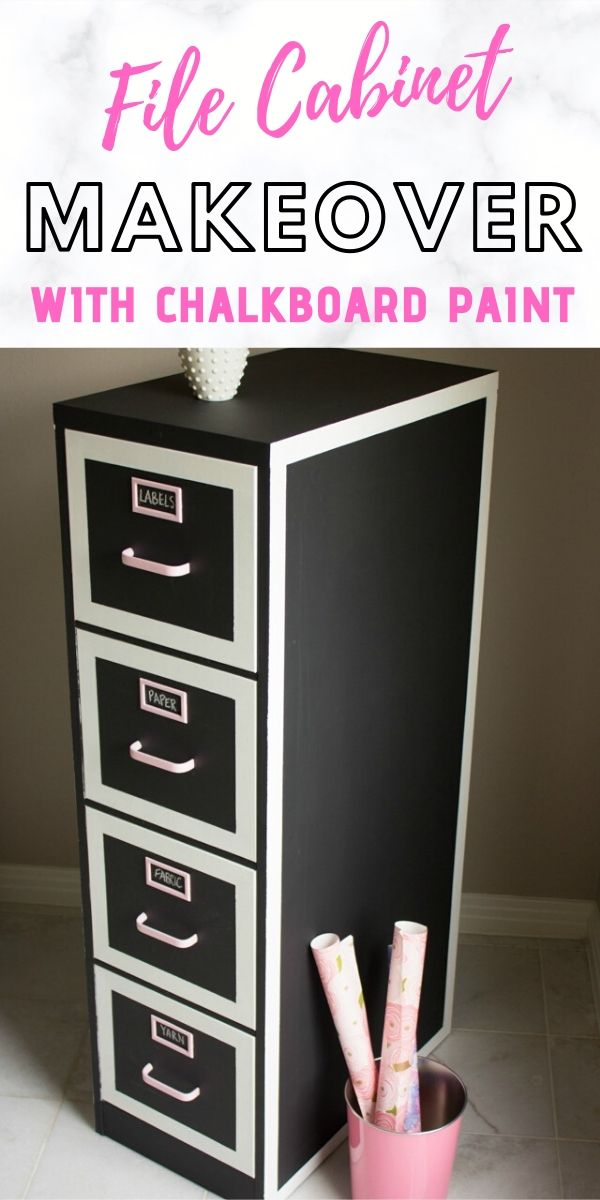 Awesome DIY file cabinet makeover with chalkboard paint