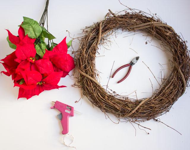 Supplies for DIY poinsettia wreath
