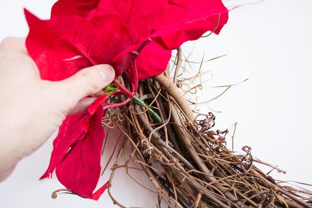 Adding poinsettias to grapevine wreaths