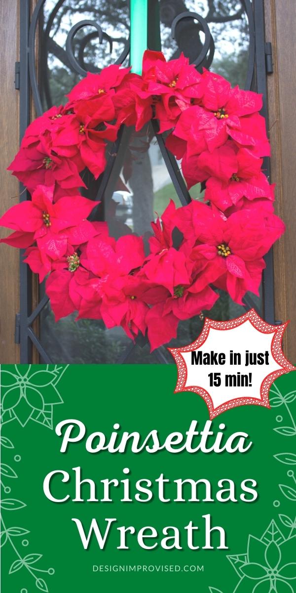 DIY Dollar Store Poinsettia Christmas Wreath
