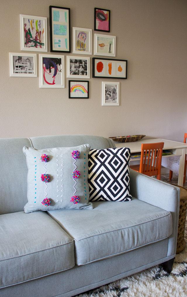 DIY Yarn Embroidered Pillows