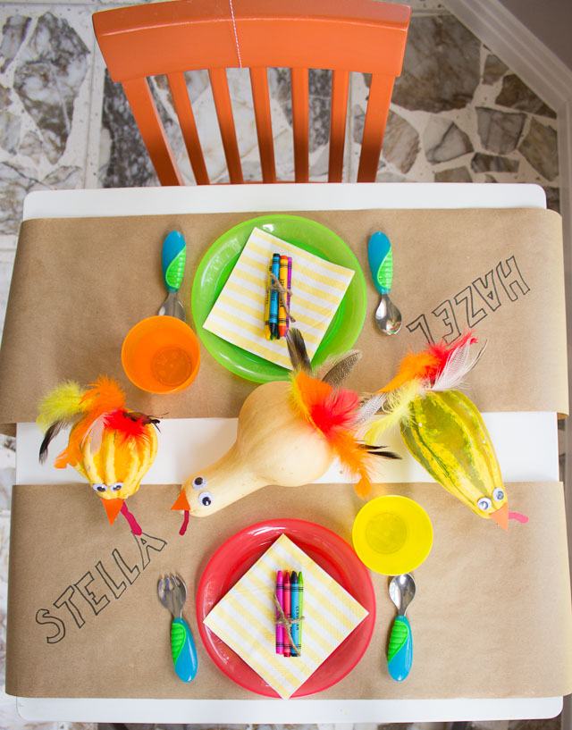 Thanksgiving kids table with gourd turkey centerpiece