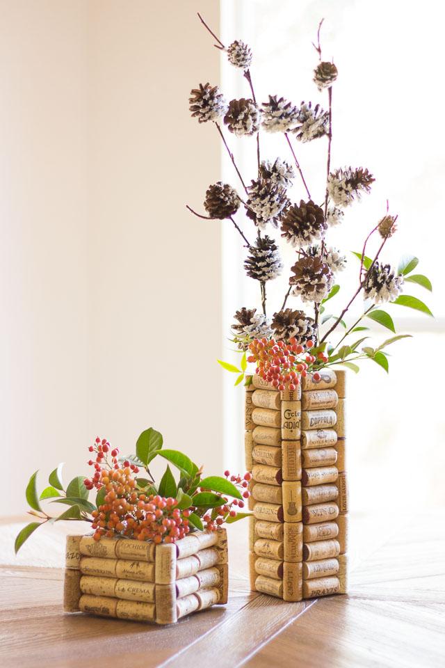 Wine cork vases for Christmas