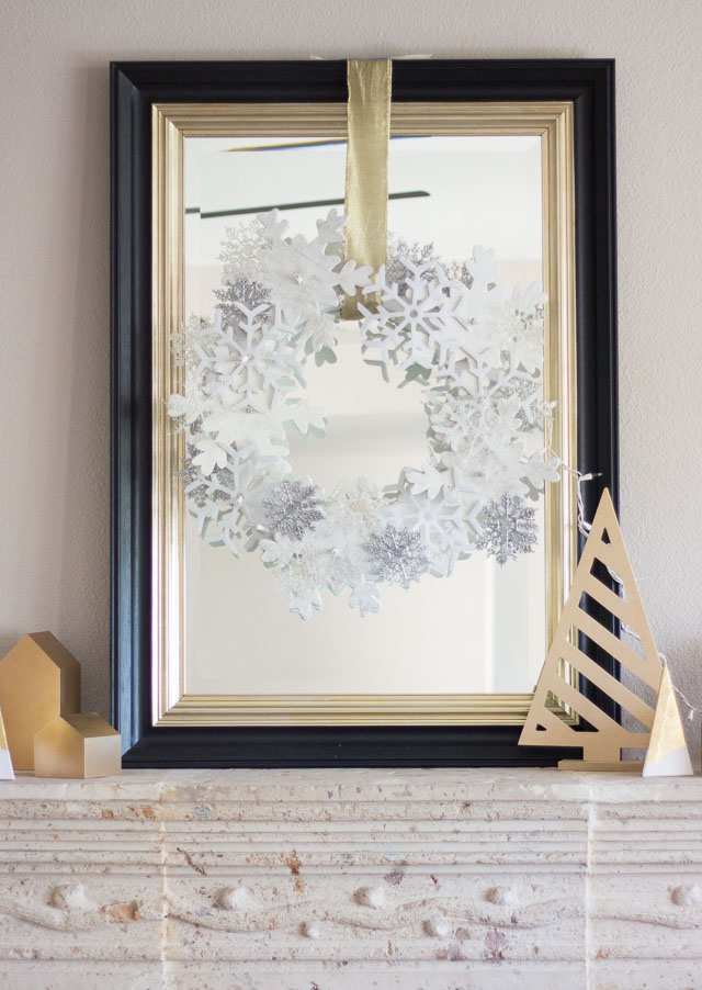 DIY snowflake wreath made from snowflake ornaments