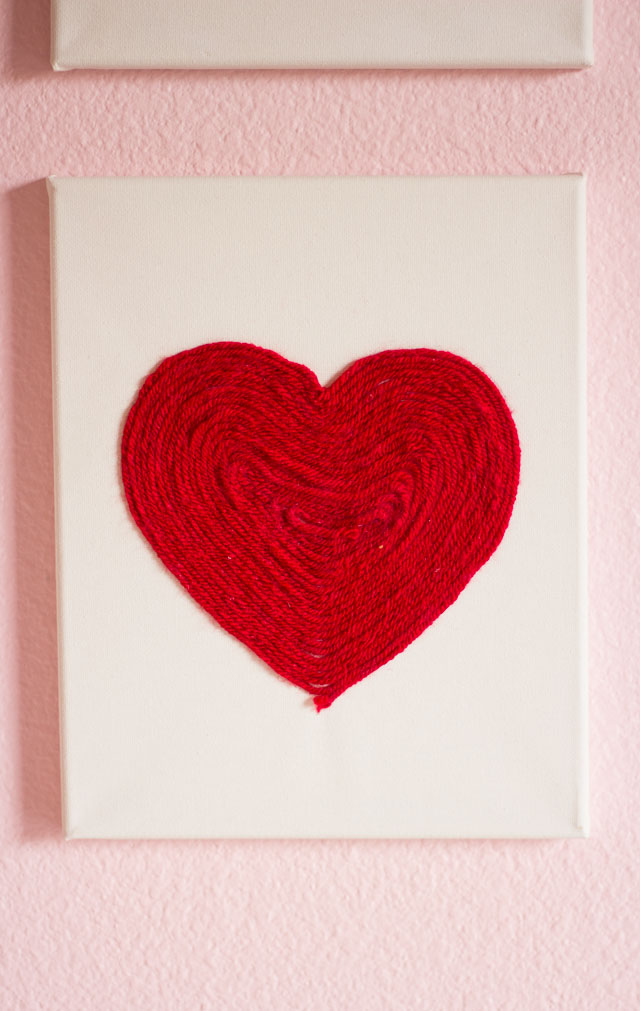 Raid your craft supplies to make this heart art for Valentine's Day or year-round! || http://www.designimprovised.com