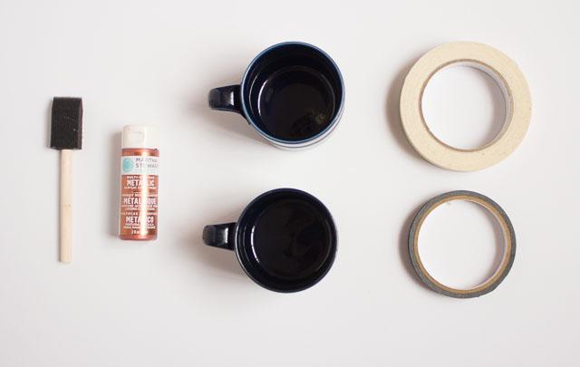 Metallic dipped coffee mugs