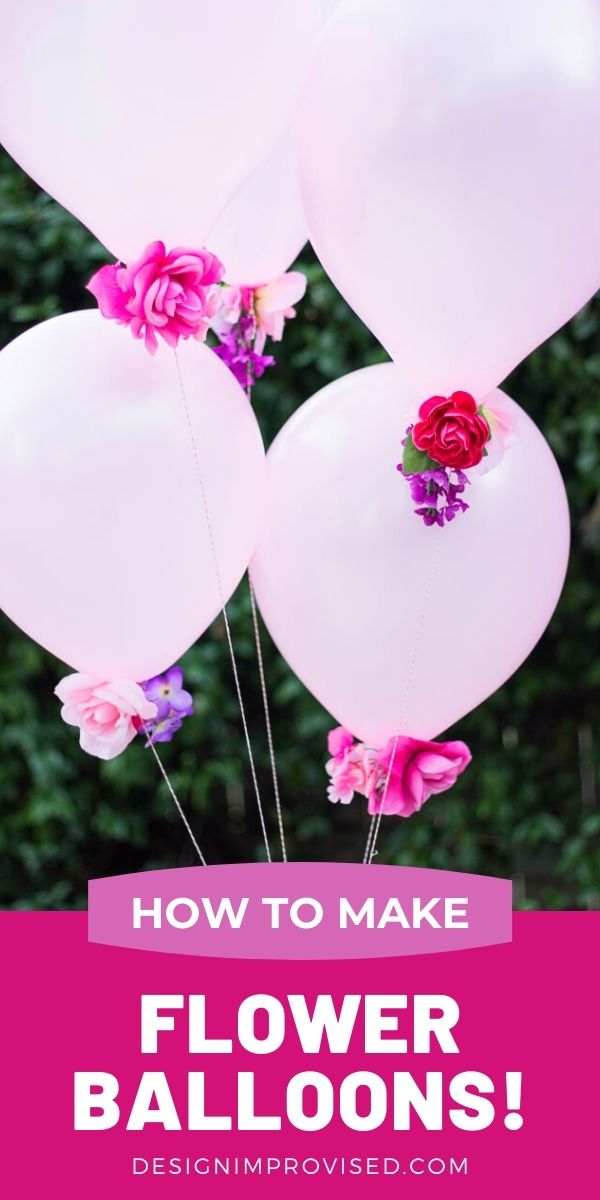 Pink helium balloons with flowers