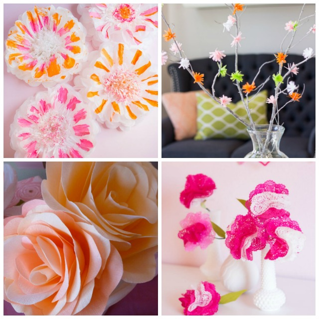 Love these colorful paper flower crafts!