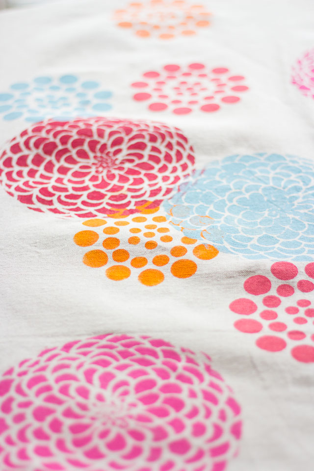 Make a pretty tablecloth from a painter's drop cloth and stencils! #feelglade